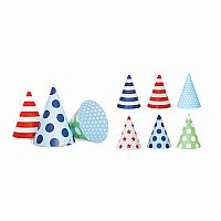 Party Hats: Green, Blue & Red