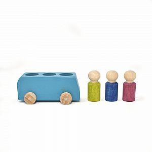 Blue Wooden Bus w/ Figures by Lubulona