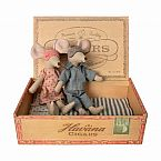 Maileg Mom and Dad Mice in a Cigar Box
