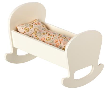 Maileg Wooden Cradle with Bed Linens