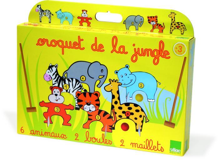 wooden jungle animals croquet set little goose toys