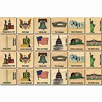 Wooden American Icons Memory Tiles