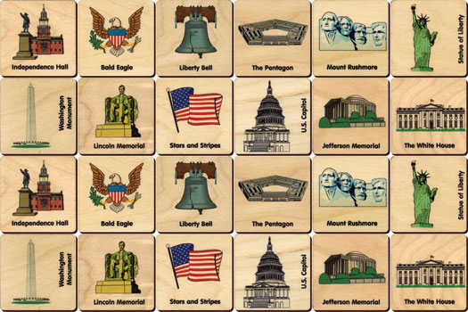 Wooden American Icons Memory Tiles - Little Goose Toys