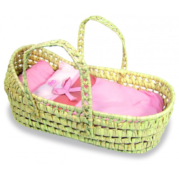 Natural Raffia Moses Basket For Dolls By Petitcollin
