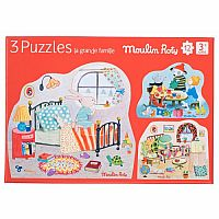 Le Grande Famille Puzzle (set of 3) by Moulin Roty